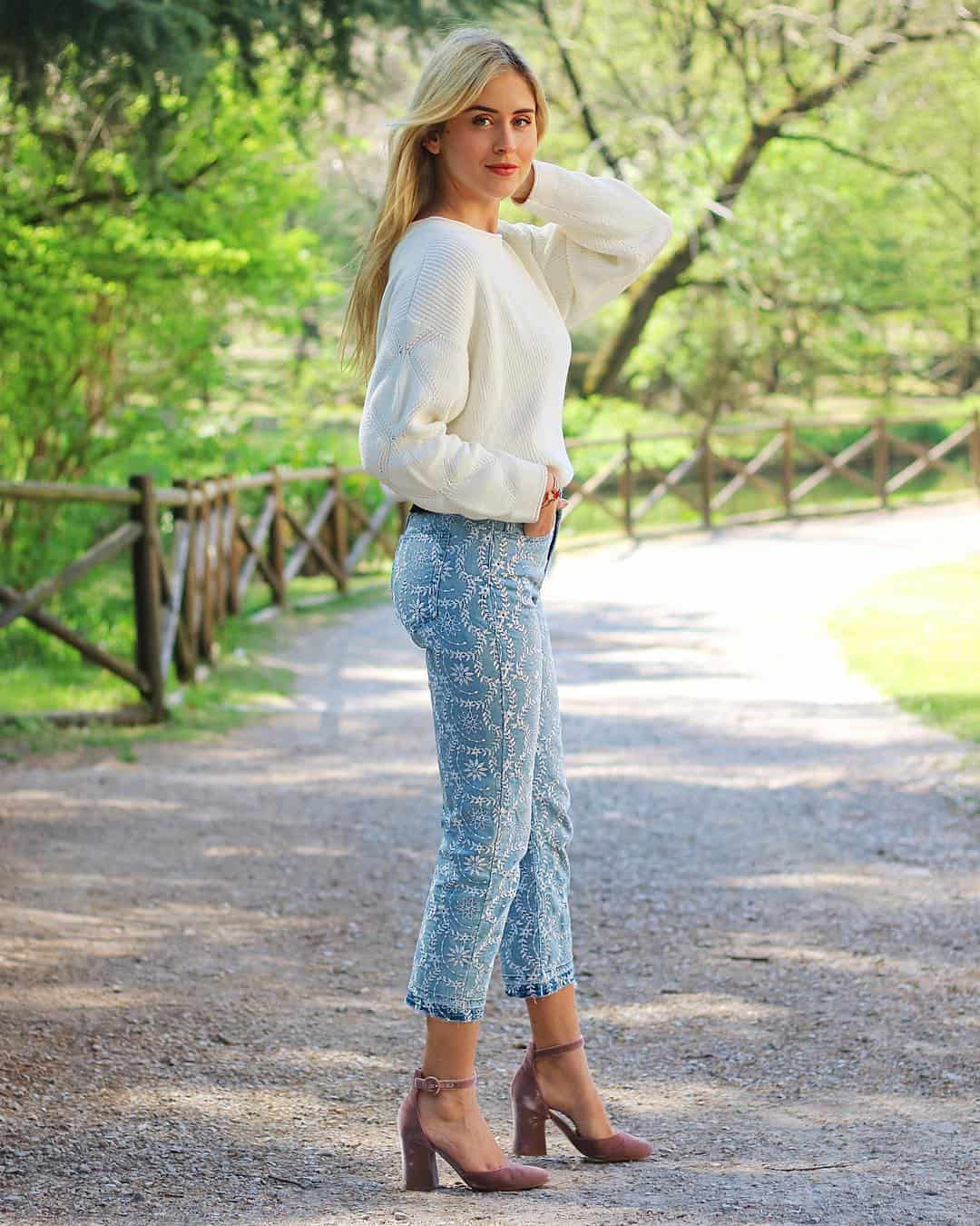 Cut White Embroidered Jeans