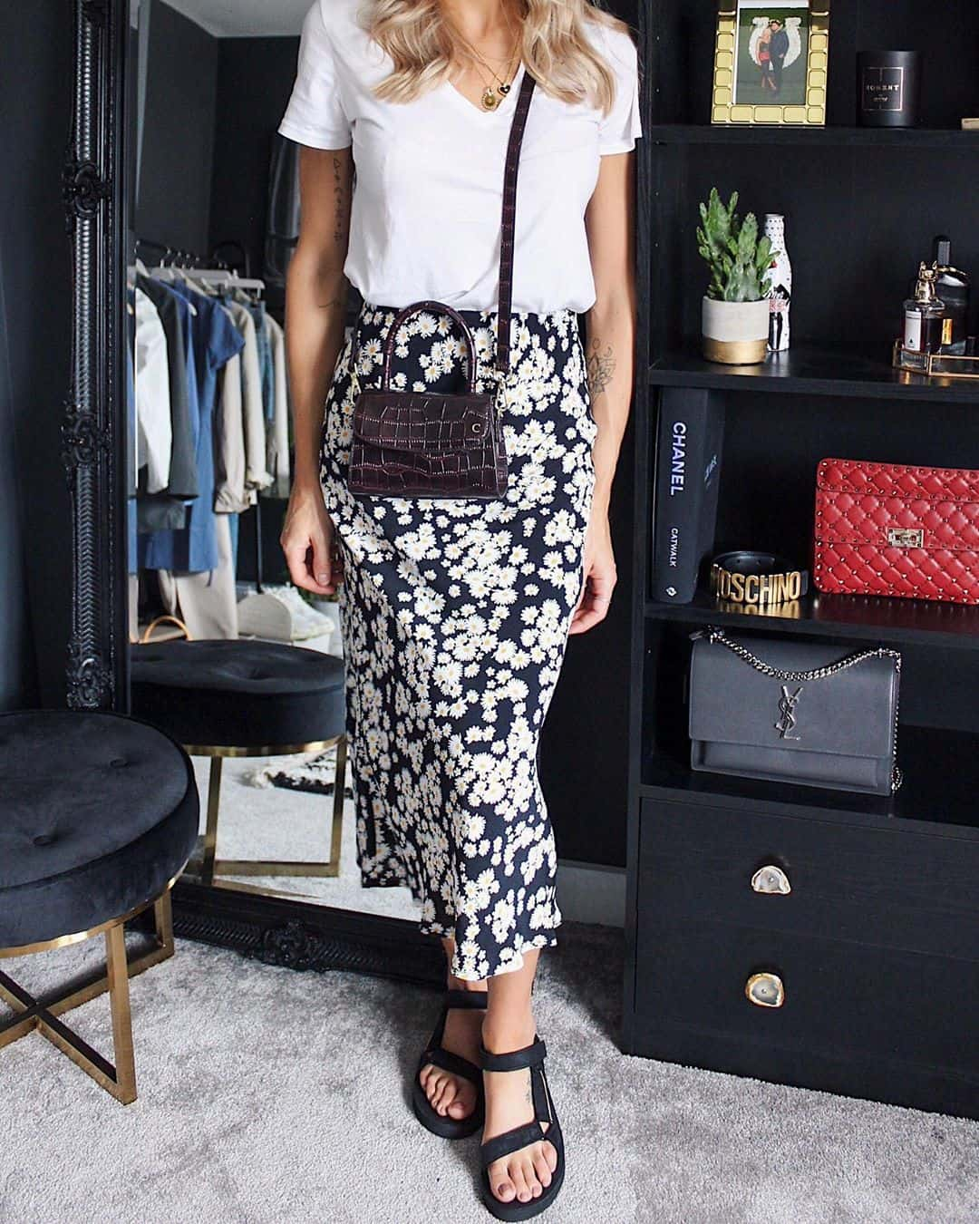 Floral Skirt and Black Sandals