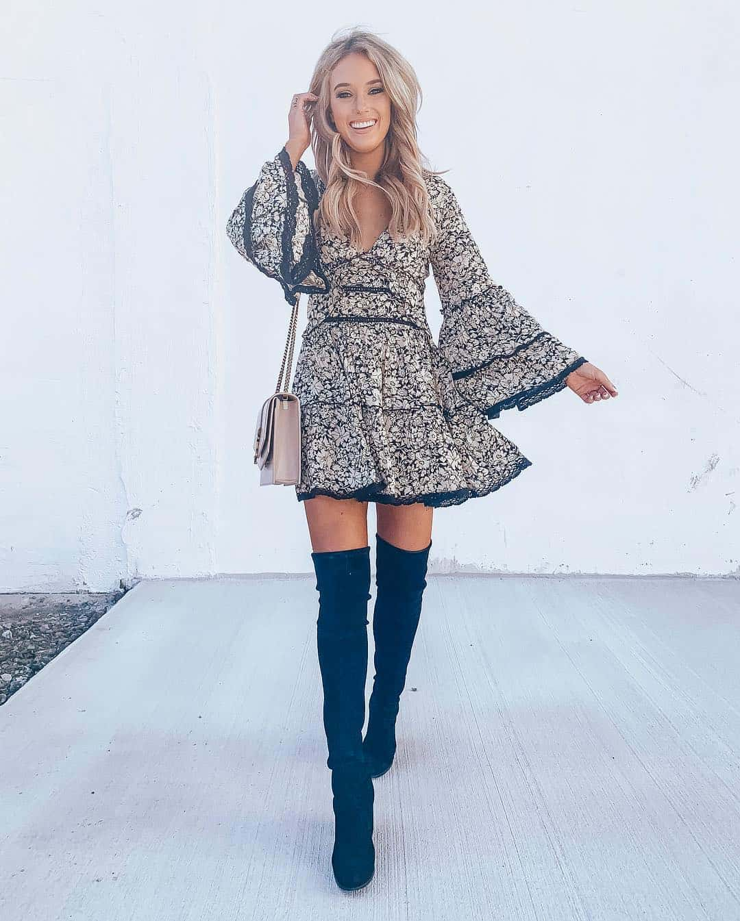 Flowy Dress and Over the Knee Boots