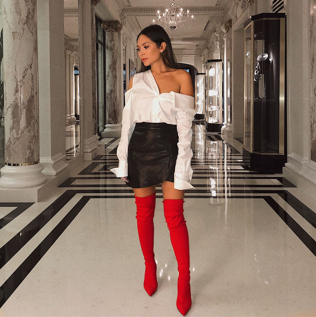 Red Boots with Black and White Combination