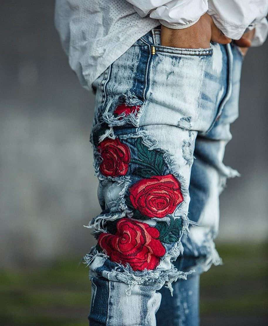 Ripped Jeans with Embroidery