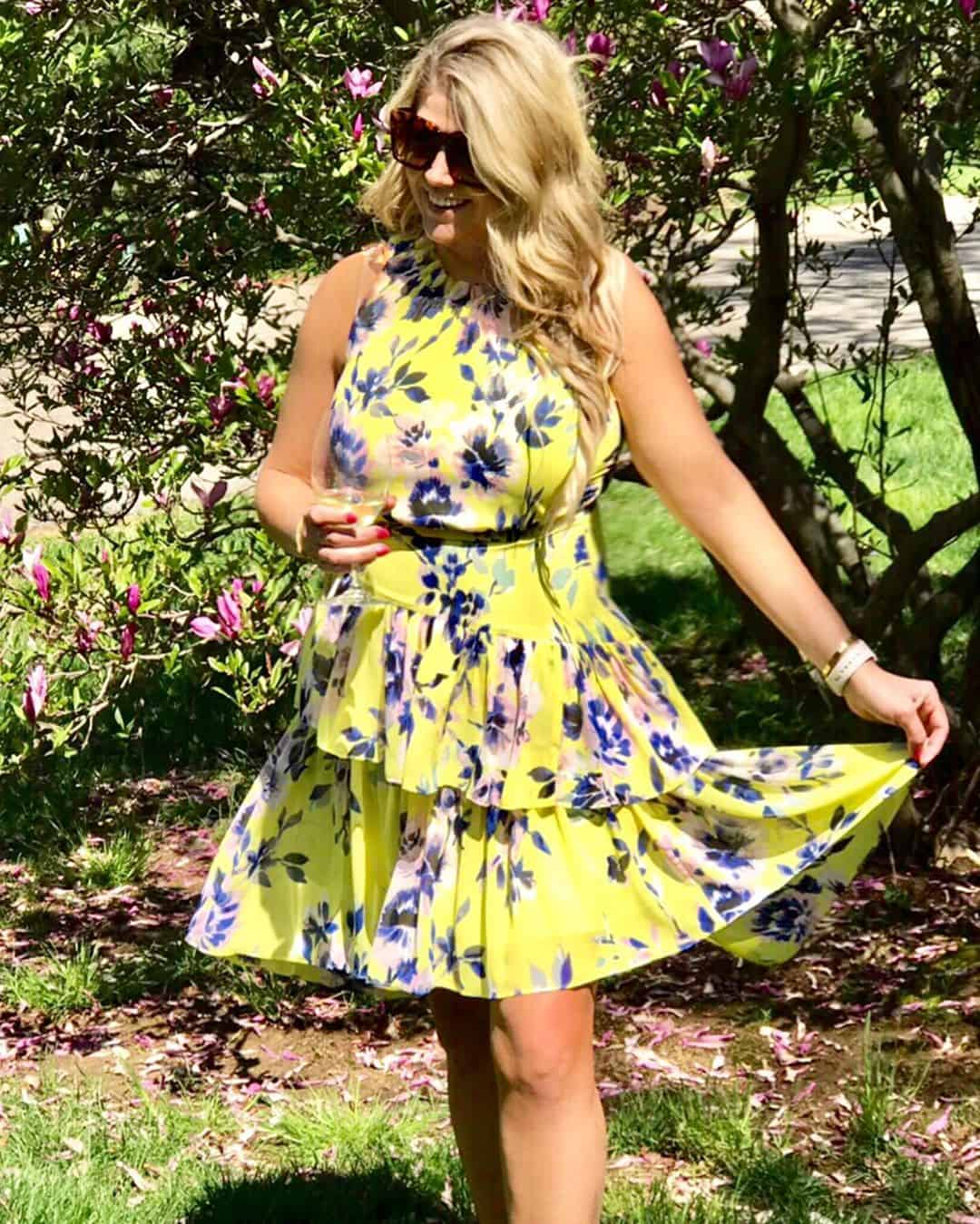 Yellow Dress with Purple Flowers